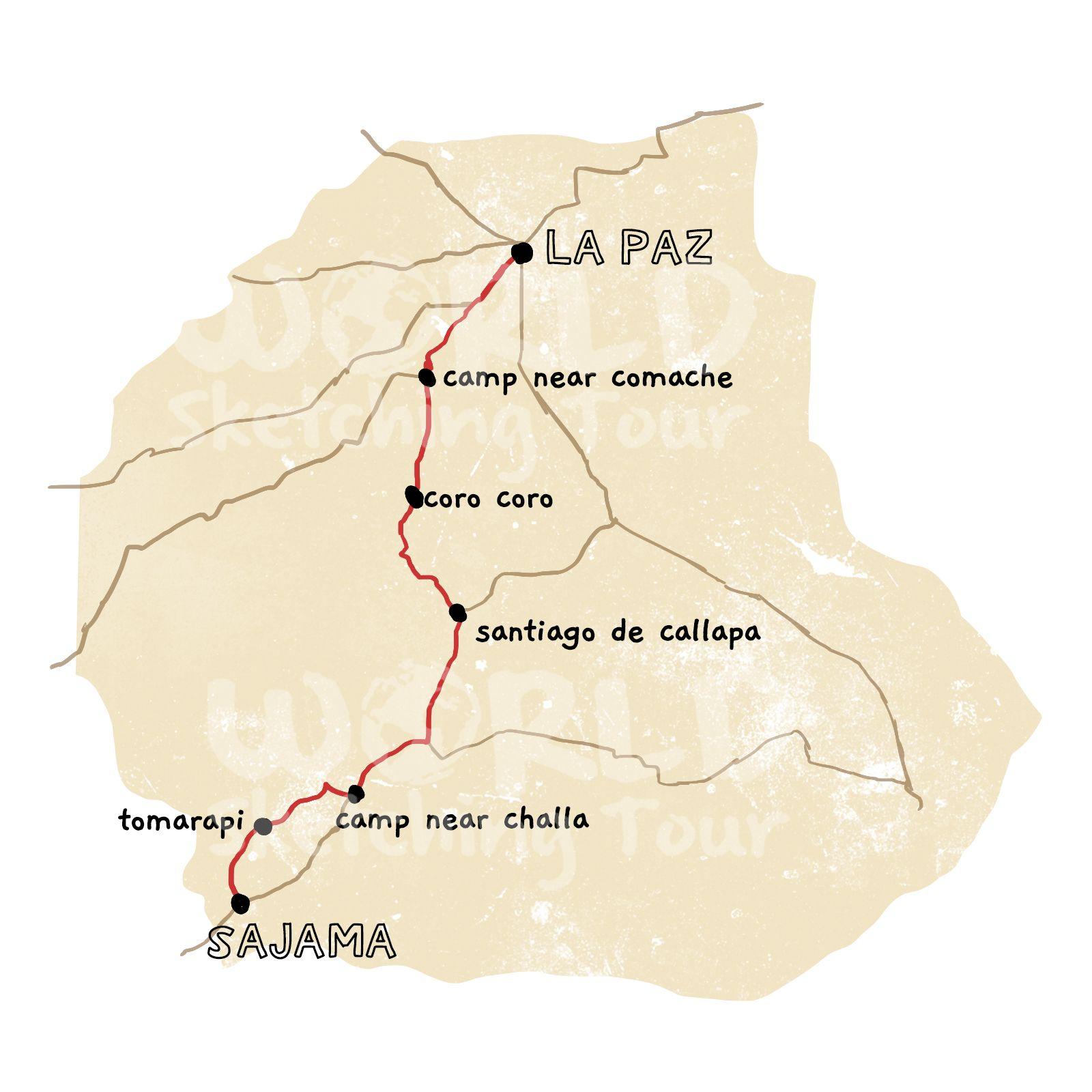 Map cycling La Paz to Sajama Bolivia